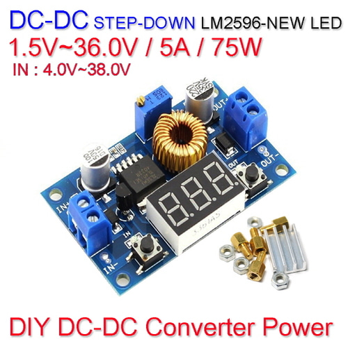 [Z-2] [DC-DC 컨버터] DC DC Step Down Converter Power LM2596-NEW LED 1.5V~36.0V / 5A / 75W