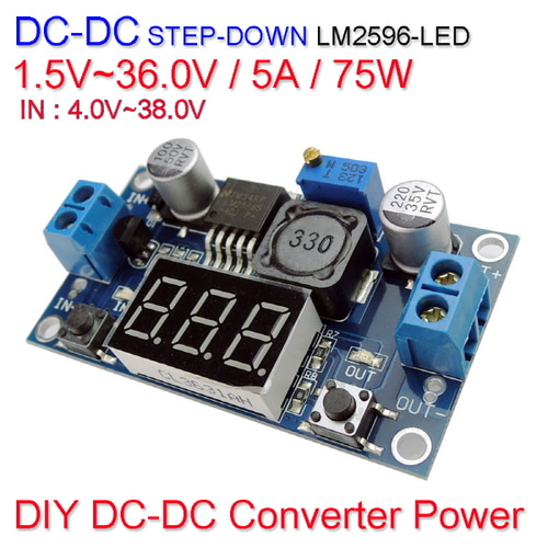 [Z-2] [DC-DC 컨버터] DC DC Step Down Converter Power LM2596-LED 1.5V~36.0V / 5A / 75W
