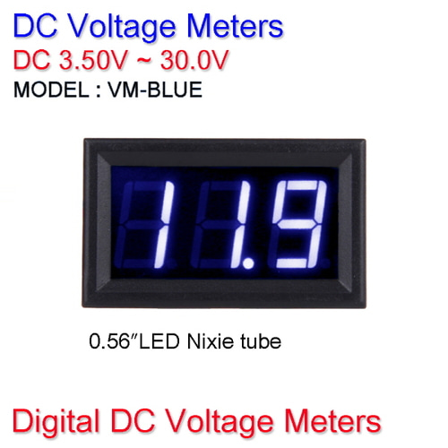 [X-2] [DC 볼트메타] VM-BLUE / Digital DC Voltage Meters DC 3.50V~30.0V (0.56″LED Nixie tube)